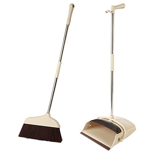 Broom and Dustpan Set, Floor Cleaning Sweep Broom and Dust Pan with Long Handle, House Sweeper with Upright Stand up Dustpan for Home Kitchen Office Lobby Floor Use