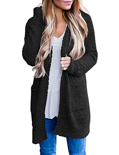 MEROKEETY Women's Long Sleeve Soft Chunky Knit Sweater Open Front Cardigan Outwear with Pockets Black ()