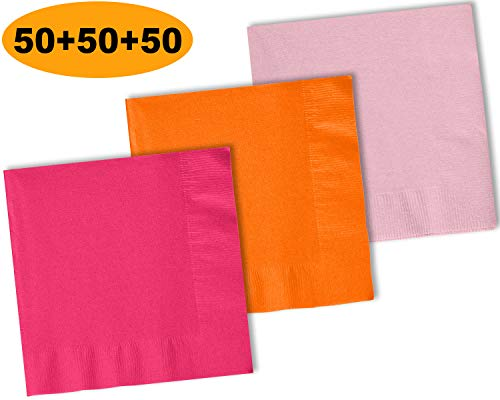 (150 Beverage Napkins, Pumpkin Orange, Light Pink, Electric Pink - 50 Each Color. 2 Ply Paper Cocktail Napkins. 5