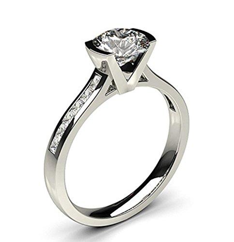 18K White Gold (HallMarked), Round Cut Semi Bezel Setting Medium Side White Diamond Engagement Wedding Ring Size - 5.5