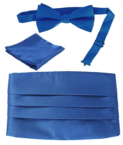 Gioberti Men's Adjustable Satin Cummerbund Set With Formal Bow Tie and Pocket Square, Royal Blue ()