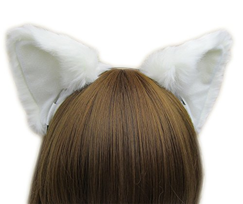Women Cat Ear Headband Halloween Cute Party Anime Cosplay Costume Kitty Cat Ears White Hairband]()