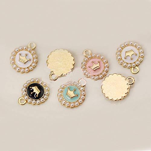 - Charm Enamel - 10pcs Pearl Crown Floating Enamel Charms Alloy Pendant for Necklaces/Bracelets DIY Female Fashion Jewelry Accessories