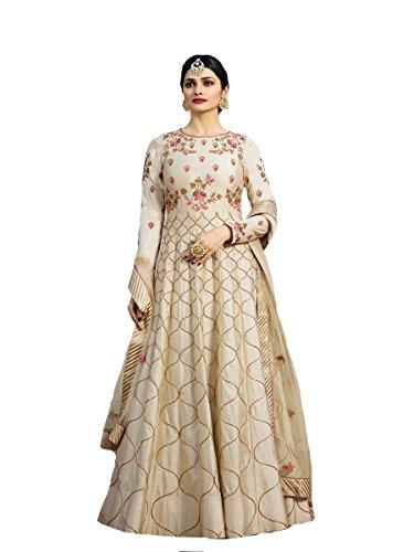 Delisa New Indian/Pakistani Designer Georgette Party Wear Anarkali Suit Maisa 04 (Off White, MEDIUM-40)