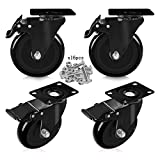 """Feyue 5"""" Swivel Rubber Caster Wheels with Safety"""