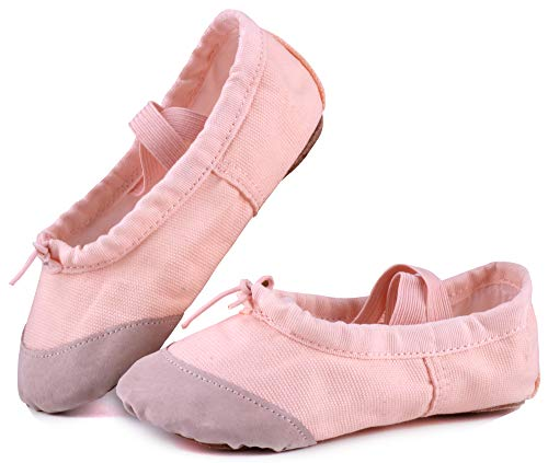 LONSOEN Ballet Slipper Shoes Split-Sole Dance Flat for Girls (Toddler/Little Kid/Big Kid) SHC55 Nude CN37]()