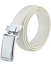 Men's Genuine Leather Ratchet Dress Belt with Stainless Steel Buckle, Enclosed in an Elegant Canvas Bag