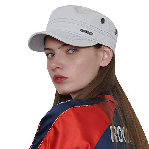 Cap Baseball Hat Cadet (CACUSS Men's Baseball Caps Cotton Classic Army Hat Military Hats Adjustable Comfy Cadet Hat Flat Top Cap (Grey))