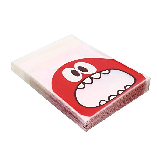 Wootkey Candy Bags 300 pcs 4'' Big Mouth Monster Self Adhesive OPP Cookie Bakery Decorating bags Biscuit Roasting Treat Gift DIY Plastic Bag by Wootkey (Image #3)