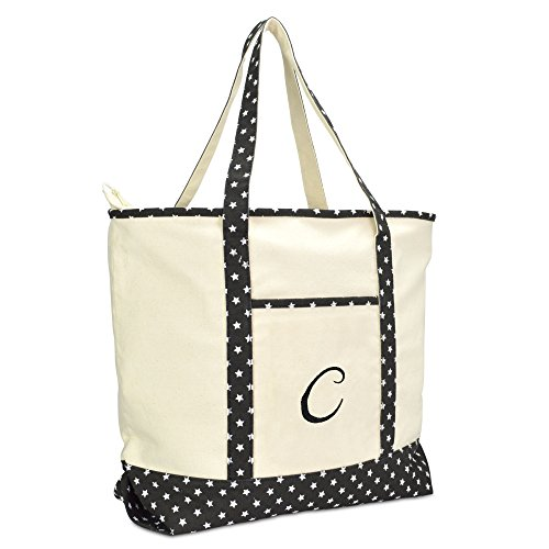 DALIX Personalized Shopping Tote Bag Monogram Black Star Ballent Zippered Letter- C