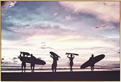 Kunstloft® fotografía artística enmarcada Surfers at Dusk ...