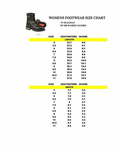 pour Milwaukee femme Bottes noir de Cuir 5 Classic M US moto B noir 7 qxqwg5I