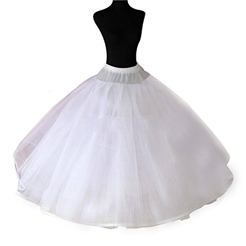 Women's 8 Layers Petticoat Crinoline Tulle Skirt A-line Puffy Unerskirts Slips Hoopless for Bridal Ball Gown Wedding Dress (White, (Womens A-line No Pleat Skirt)