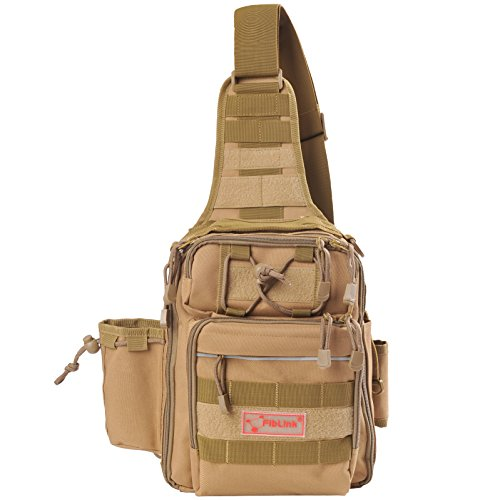 Fiblink Waterproof Sports Single Shoulder Fishing Tackle Bag Backpack or Handbag Chest Daypack Crossbody Messenger Sling Bags for Hiking Camping (Khaki)