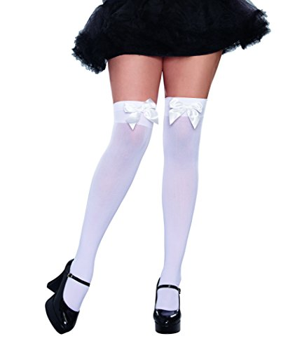 Dreamgirl Women's Plus Size Bow Top Stockings, White, One Queen ()