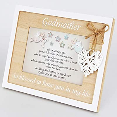 Merci Godmother Frame 4x6 Beautiful Godmother Gifts from Godchild Quality Picture Frame with Heart Accessory - ♥ A GODMOTHER GIFT TO CHERISH FOR YEARS - This LOVELY WOODEN FRAME with a delightful HEART DECORATION will put a SMILE on the GODMOTHERS face EVERY DAY. ♥ A SPECIAL WAY TO SAY THANK YOU - Give this HEARTWARMING GIFT and let the GODMOTHER know how important her role is in the GODCHILD's life. ♥ A REMINDER OF LOVE - Let this BEAUTIFUL KEEPSAKE frame be a reminder of the LOVE SHARED between the GODMOTHER AND GODCHILD. - picture-frames, bedroom-decor, bedroom - 41P2oTqYTYL. SS400  -