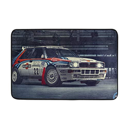 Delta Mats Car - Lancia Integrale Sports Car Martini Racing Top Gear Delta Hf Doormat Indoor Outdoor Entrance Floor Mat Bathroom 23.6 X 15.7 Inch