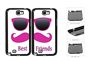 Best Friends Pink Mustache Sunglasses Hard Plastic Snap On Cell Phone Case Samsung Galaxy Note 2 II N7100