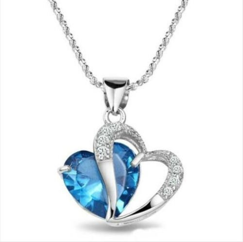 Wedding Rsvp Custom Announcements (Ddang - Women Heart Crystal Rhinestone Silver Chain Pendant Necklace Jewelry necklace Silver & Blue JEW 0404)