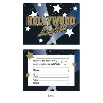 Beistle 58260 8-Pack Hollywood Lights Invitations, 4-Inch by -