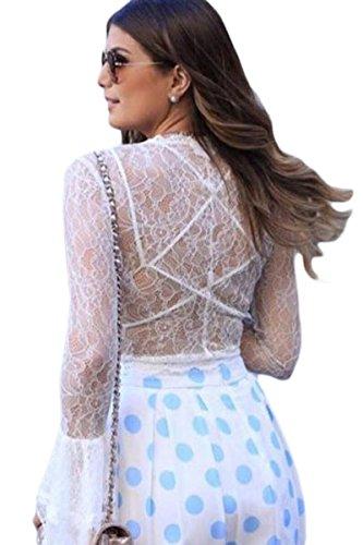 Neue Damen weiß Sheer Lace Tie vorne Bell Sleeve abgeschnittenes Top tragen Sommer Casual Tops Größe M UK 10