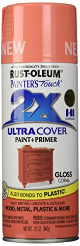 Coral Spray - Rust-Oleum PTUCG249-189 Painter's Touch Ultra Cover Gloss Aerosol Paint, 12 oz, Coral