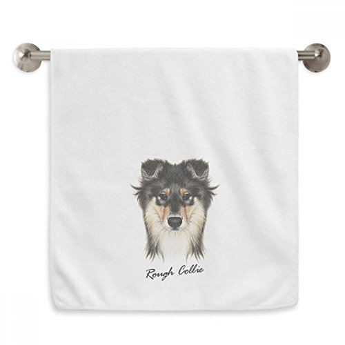 Long-haired Rough Collie Pet Animal Circlet White Towels Soft Towel Washcloth 13x29 Inch (Rough Collie Haired)