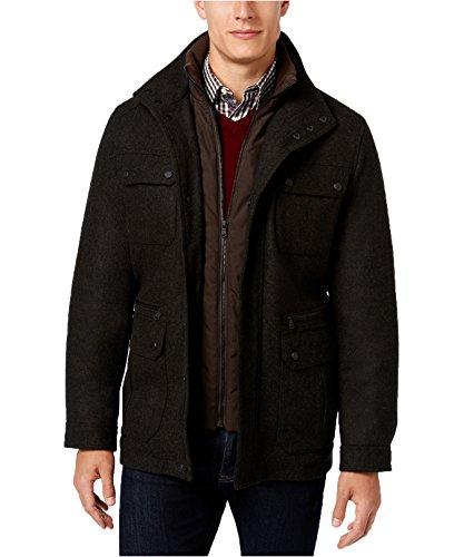 MICHAEL Michael Kors Men's Wool-Blend Field Coat With Attached Bib (XS, Loden (Michael Kors Black Wool)