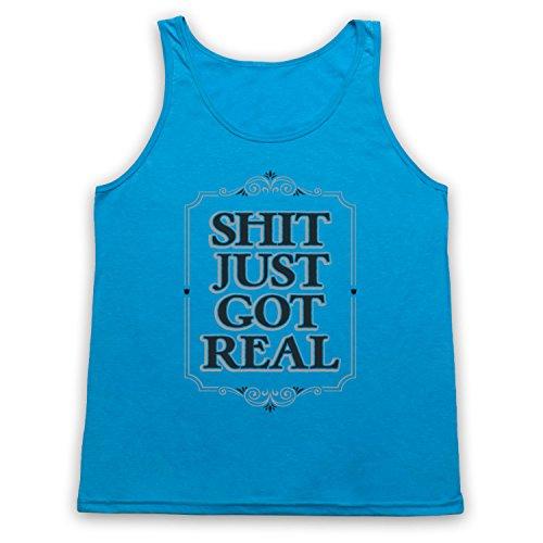 Shit Just Got Real Slogan Tank-Top Weste, Neon Blau, Medium