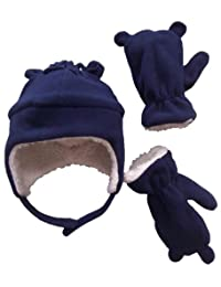 N'Ice Caps Boys Sherpa Lined Micro Fleece Hat and Mitten Set with Ears