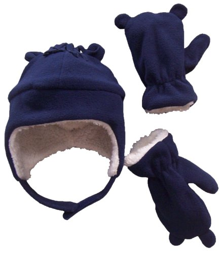N'Ice Caps Little Boys and Baby Sherpa Lined Micro Fleece Pilot Hat Mitten Set (2-3 Years, Navy/White Sherpa)