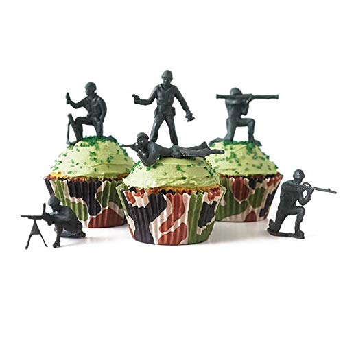 24 Green Toy Soldiers Cupcake Topper Kit - Army Soldiers, Camo Baking Cups, Green Sugar Sprinkles ()