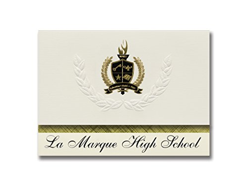 Signature Announcements La Marque High School (La Marque, TX) Graduation Announcements, Presidential style, Elite package of 25 with Gold & Black Metallic Foil seal