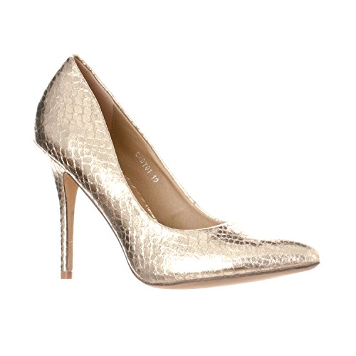 (Riverberry Women's Gaby Pointed, Closed Toe Stiletto Pump Heels, Gold Snake, 8.5)