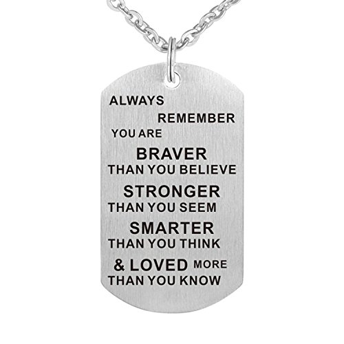LSL Always remember you are braver Pendant Stainless steel Military Dog tag Inspirational pendant necklace ()