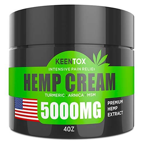 Hemp Pain Relief Cream - 5000MG - Relieves Muscle, Joint Pain, Lower Back Pain, Knees, and Fingers - Inflammation - Hemp Extract Remedy - Hemp Oil with MSM - EMU Oil - Arnica - Turmeric - Made in USA