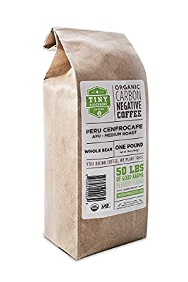 Tiny Footprint Organic Peru APU Medium Roast Coffee, Whole Bean, 1 Pound