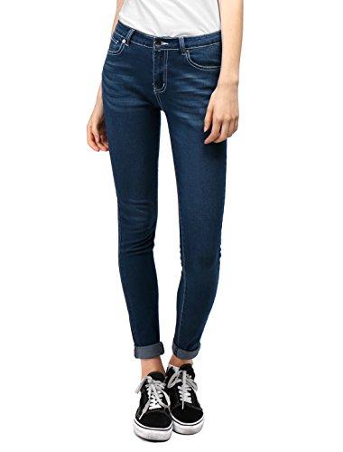 Allegra K Women's Low Rise Zip Fly Pockets Skinny Jeans Pants Blue M