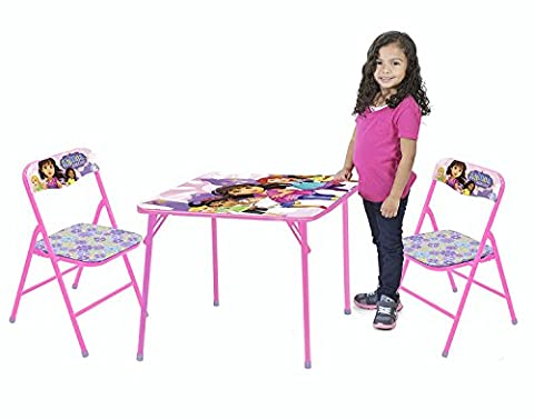 Nickelodeon Dora and Friends Kids 3-Piece Activity and Play Folding Table and Chair Set - Mission Double Shade Table Lamp