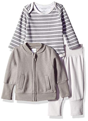 Flexy Jogger with Long Sleeve Bodysuit and Fleece Jacket, Green/Grey Stripe 6-12 Months ()
