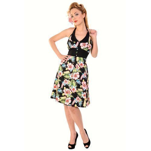 Banned Black Tropical Floral Print Rockabilly 50s Vintage Pinup Party Prom Dress