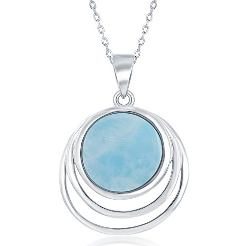 Sterling Silver Triple Round Natural Larimar Pendant on a 18