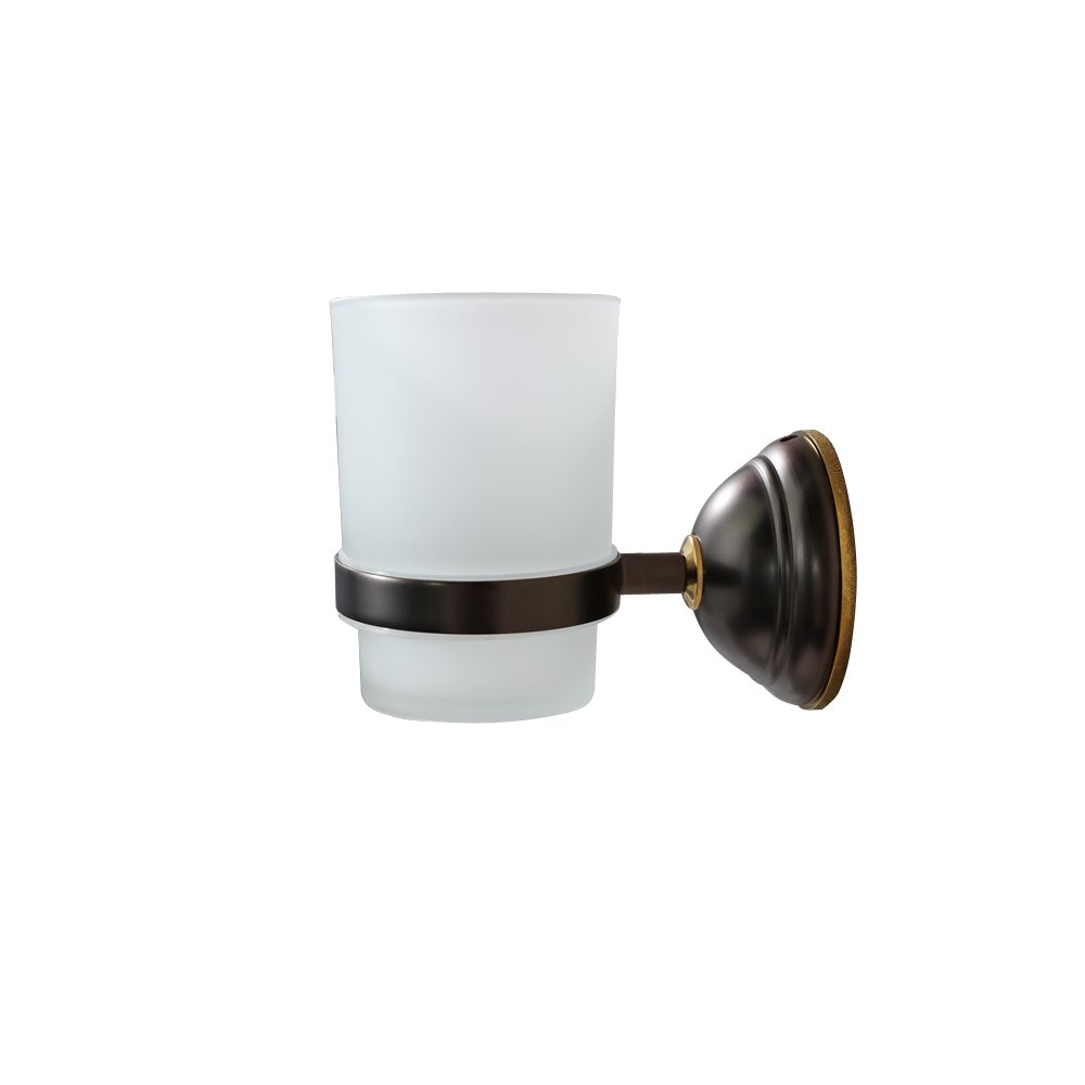 CROWN Toothbrush Holder/Tumbler Cup for Bathroom Wall Mount Oil Rubbed Bronze Glass Toothpaste Holder, Solid Brass CR201