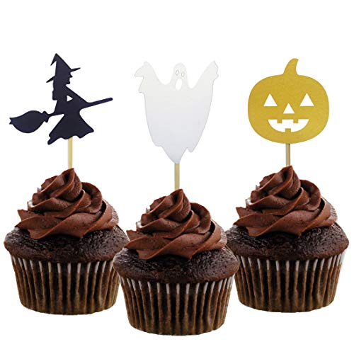 Creative Halloween Cupcakes (Morndew 24 PCS Witch Spooky Pumpkin Cupcake Toppers for Halloween Party Baby Shower Birthday Party Wedding Party)