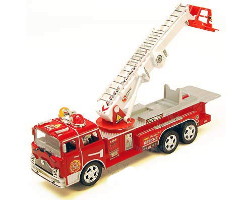 "12"" Bump & Go Rescue Fire Engine Truck Kids Toy with Extending Ladder & Lights & Siren Sounds"