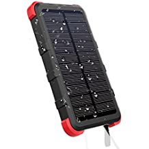 [Upgrade] OUTXE 10000mAh Rugged Power Bank with Flashlight IP67 Waterproof Solar Portable Charger Outdoor Dual USB