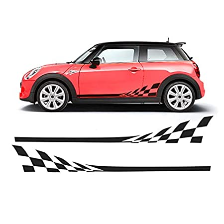 luluda 2X Car Styling Side Racing Stripe Skirt Limited Edition Decal Stickers for Mini Cooper R50 R52 R53 R56 R57 R58 R59 F55 F56 F54 mi-04 Black