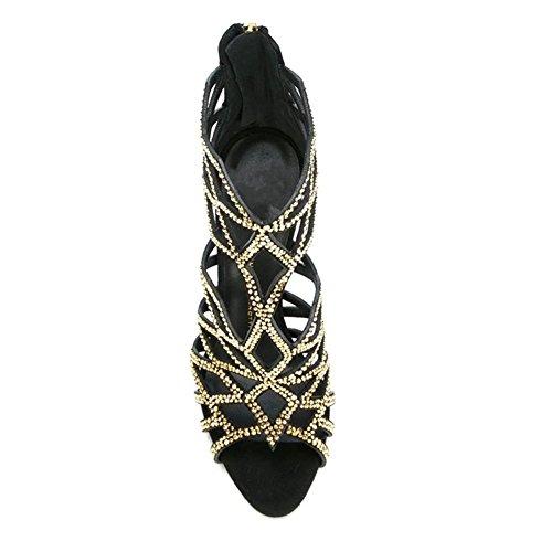Toe NVXIE Hauts Escarpin Femmes Mariée à Lanières de Peep Noir de Talons à Mariage Sandales Stiletto Boucle Chaussures rEqUxzERw