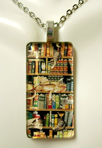 Cats on a bookcase glass pendant - (157 Glasses)