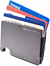 RFID-Blocking Slim Minimalist Card Holder –Travel Wallet For Credit Cards, Driver License & Money –1/2' Thick, Expandable, Sturdy, & Durable – by Maverick Systems